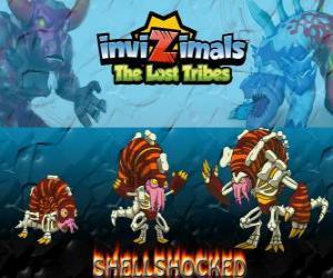 puzzel Shellshocked, laatste evolutie. Invizimals The Lost Tribes. Een excentrieke magische schepsel die alleen in de grotten woont