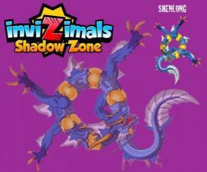 puzzel Shenlong. Invizimals Shadow Zone. De krachtige geest van de keizer die bouwde de Grote Muur van China