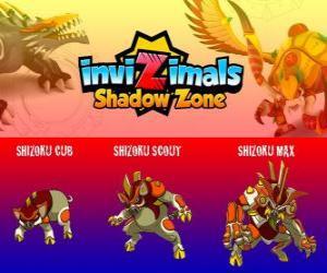 puzzel Shizoku Cub, Shizoku Scout, Shizoku Max. Invizimals Shadow Zone. Een samurai varken dat afkomstig is van het feodale Japan, een krijger in harnas