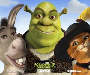 puzzel Shrek, de Ogre met zijn vrienden Donkey en Puss in Boots