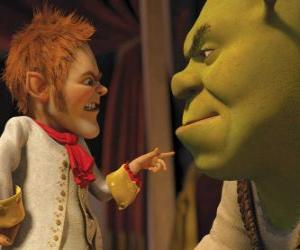 puzzel Shrek is gedupeerd door de ondertekening van een pact met de minzame onderhandelaar Repelsteeltje