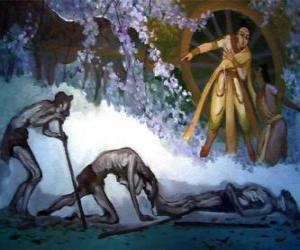 puzzel Siddhartha Gautama en zijn eerste visie van ouderdom
