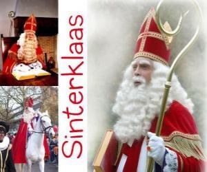 puzzel Sinterklaas. Sint-Nicolaas brengt cadeautjes voor kinderen in Nederland, België en andere Midden-Europese landen