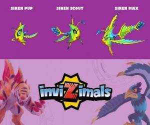puzzel Siren in drie fasen Siren Pup, Siren Scott en Siren Max, Invizimals