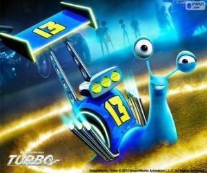 puzzel Skidmark, de race-slak met nummer 13