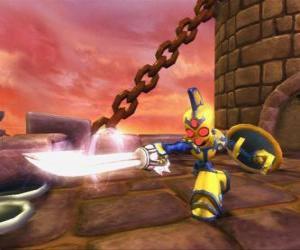puzzel Skylander Chop Chop, een stoere krijger met zwaard en schild. Ondood Skylanders