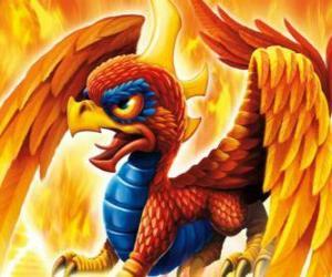 puzzel Skylander Sunburn, een gevleugelde draak. Brand Skylanders