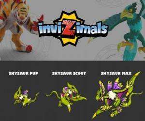puzzel Skysaur in drie fasen Skysaur Pup, Skysaur Scott en Skysaur Max, Invizimals