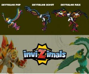 puzzel Skytalon in drie fasen Skytalon Pup, Skytalon Scott en Skytalon Max, Invizimals