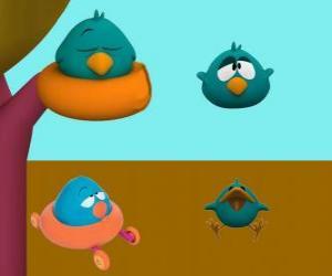 puzzel Sleepy Bird is een erg slaperig en humeurig vogel