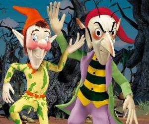 puzzel Sly en Gobbo, de ondeugende goblins in de avonturen van Noddy