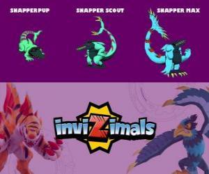 puzzel Snapper in drie fasen Snapper Pup, Snapper Scott en Snapper Max, Invizimals