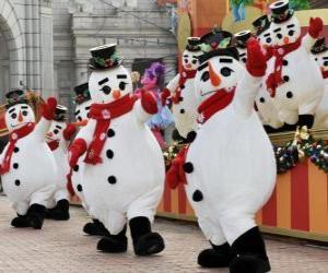puzzel Sneeuwmannen dansen