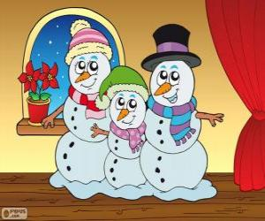 puzzel Sneeuwmannen familie