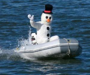 puzzel Sneeuwpop in een boot
