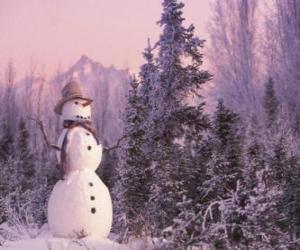 puzzel Sneeuwpop met een sneeuwlandschap