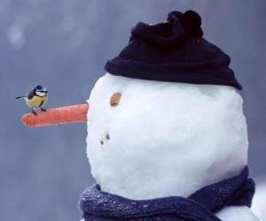 puzzel Sneeuwpop met een vogel op zijn neus