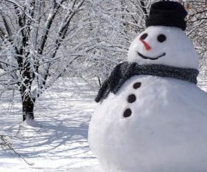 puzzel Sneeuwpop met hoed en sjaal