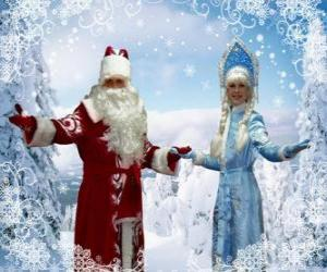 puzzel Snegoerotsjka of het Sneeuwmeisje en Vadertje Winter of Grootvadertje Vorst, de Russische traditionele kerst karakters