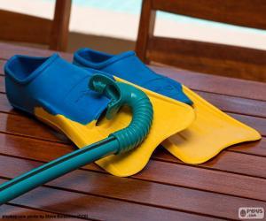 puzzel Snorkel en scuba flippers