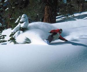 puzzel Snowboarder aflopend in verse sneeuw