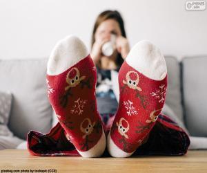 puzzel Sokken met kerst Rendier