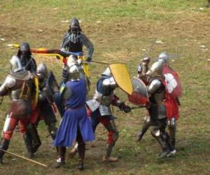 puzzel Soldaten vechten met zwaarden en schilden