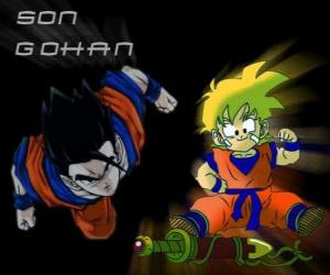 puzzel Son Gohan, Goku's oudste zoon, krijger, half mens en half Saiyan.
