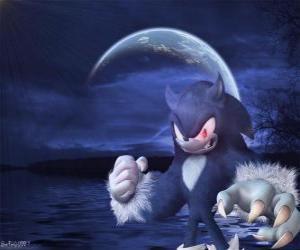 puzzel Sonic the Werehog, de nieuwste Sonic transformatie, nachts transformeert in een wolf egel