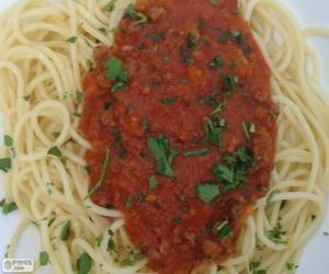 puzzel Spaghetti met tomatensaus