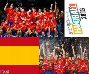 puzzel Spanje gouden medaille op het Wereldkampioenschap voetbal in handbal 2013