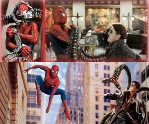 puzzel Spiderman vechten tegen de schurk Octopus, een van zijn grootste vijanden