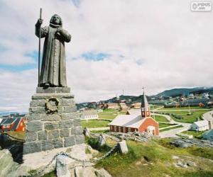 puzzel Standbeeld van Hans Egede, Nuuk, Groenland