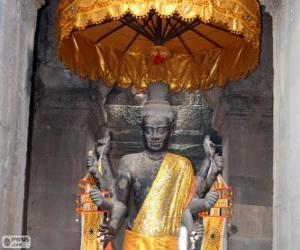 puzzel Standbeeld van Vishnoe, Angkor Wat, Cambodia