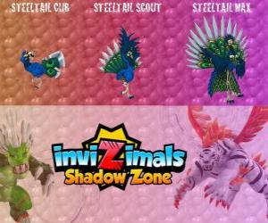 puzzel Steeltail Max. Invizimals Shadow Zone. Spectaculaire vogel, zijn staart is een machtig wapen van staal veren