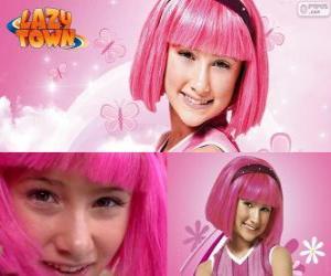puzzel Stephanie, het meisje hoofdpersoon van Lazy Town die houdt van de kleur roze