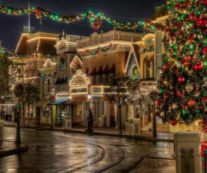 puzzel Straat ingericht voor Kerstmis