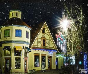 puzzel Straat met kerstverlichting