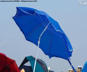 puzzel Strand parasol blauw