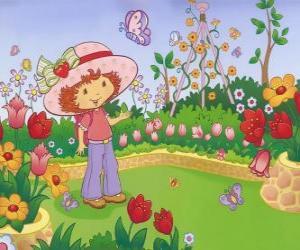 puzzel Strawberry Shortcake kijken naar de natuur