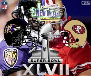 puzzel Super Bowl 2013. San Francisco 49ers vs. Baltimore Ravens. Superdome, New Orleans