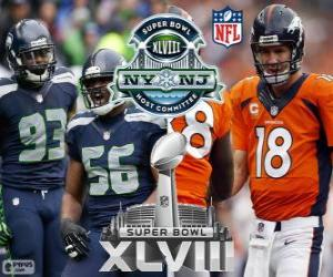 puzzel Super Bowl 2014. Seattle Seahawks vs Denver Broncos. MetLife stadion, New Jersey, op 2 februari 2014