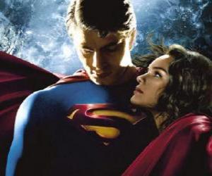 puzzel Superman met Lois Lane, verslaggever en zijn ware en grote liefde