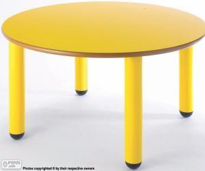puzzel Tabel ronde en geel