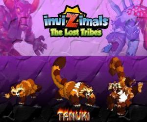puzzel Tanuki, laatste evolutie. Invizimals The Lost Tribes. Krachtige Invizimal met groot zelfvertrouwen