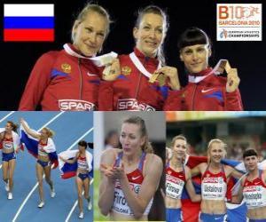 puzzel Tatiana Firova kampioen in 400 m, Xenia en Antonina Krivoshapka Ustalova (2e en 3e) in het Europees Kampioenschap Atletiek 2010 in Barcelona