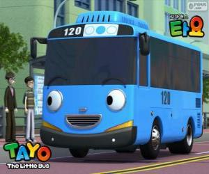 puzzel TAYO een vrolijk en optimistisch blauwe bus