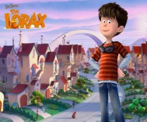 puzzel Ted Wiggins, een idealistische jongen van 12 jaar, de belangrijkste protagonist van de film Lorax