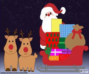puzzel Tekening Santa Claus slee