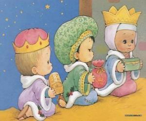 puzzel Tekening van drie kinderen verkleed als de Drie Koningen van Orient